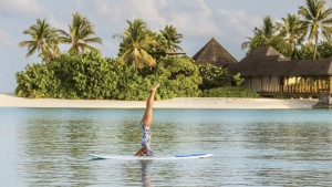 Four Seasons, Maldives (Thursday, July 30, 2015) Kat Harding (UK) has arrived at the Kuda Huraa to teach and take SUP classes for the next two weeks.  Photo: joliphotos.com