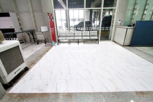 Picture of repairs to collapsed floor at NAIA terminal 2 provided by Manila International Airport Authority media affairs division.