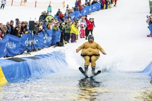 Sumo wrestler Alex Stumpf took home the prize for best costume in the 2014 Pond Skim National Championship_source Andrew Railton Mt Buller