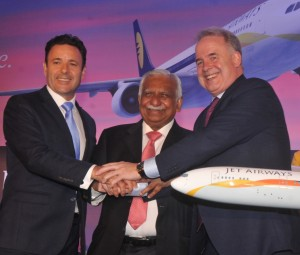 (left to right) Cramer Ball, Jet Airways' Chief Executive_ Naresh Goyal, Jet Airways' Chairman_ James Hogan, Etihad Airways' President and Chief Executive Officer