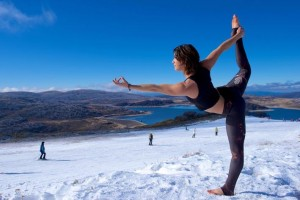 Josie Torrisi at Falls Creek (VIC) with 'The Dancer' pose.