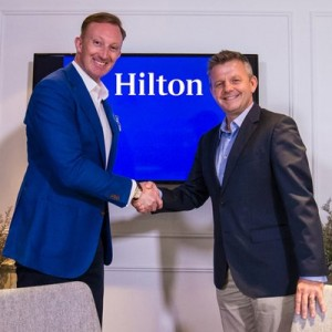 Mark Liversidge (left), Hilton Worldwide chief marketer and vice-president, Asia Pacific, and Mike Kerr, Asian Tour chief executive officer, pose for a photo during an interview on a partnership between Hilton Worldwide and the Asian Tour at Hilton Singapore on August 24, 2015.