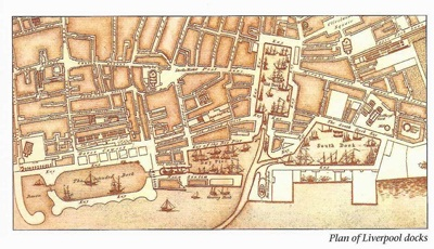 A plan of Liverpool docks in the 1700s
