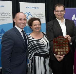 AACB Award - from left Andrew Hiebl from AACB and Altogether Perfect representatives Georgia Lazzari and Danny Eather
