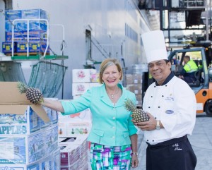 Carnival Australia chief executive Ann Sherry with Diamond Princess executive chef Nilo Palma inspecting fresh produce being loaded onto Diamond Princess in Sydney