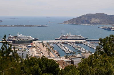 SeaDream I and II in Cartagena Spain. Helen Read photo.rsz