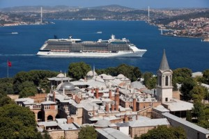Aerial Celebrity Equinox leaving Istanbul (Turkey)
