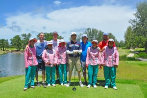 Adam Levine (2nd from left) and the rest of Maroon 5 enjoyed two rounds at Laguna Phuket Golf Club.