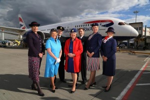 L-R Laura Lanigan, Patricia Pearce, Bob Godfrey, Gillian Burrows, Trevor Lewis, Julie Thompson and Lucinda StarlingPast and present British Airways cabin crew wear vintage uniforms from the year they flew Her Majesty The QueenAdd agreed caption