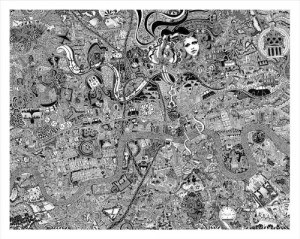 'London Town' by British Artist Fuller, aka Gareth Wood. The original art work is hand drawn using black ink on cotton archival board and measures 92cm x 116cm. The work is a mesmerising kaleidoscope to our association with youth, adolescence and progress into adulthood. Fuller lived, breathed and morphed into the capital to channel its character onto the map. (PRNewsFoto/British artist Fuller)