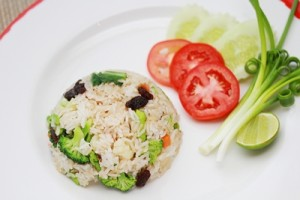 Fried rice with vegetarian chicken