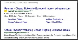 Google search results for Ryanair show eDreams first