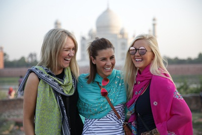 Lauren Phillips and her friends as she travels through India with G Adve...