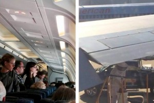 Passengers look on as beekeeper in protective 'moon suit' removes bee swarm from plane's wing