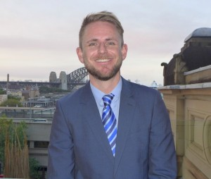 RCL Cruises' commercial director Australasia & South East Asia, Adam Armstrong,against a Sydney Harbour backdrop on Friday