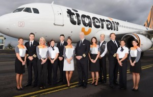 NEWS IMAGES FOR ONLINE AND EDITORIAL USE ONLY – NO SALES/NO ADVERTISING – please credit images by James Morgan if used or issued Melbourne Airport, Australia – Wednesday 21st October 2015............ New-look Tigerair Unveiled today- CEO Rob Sharp announces new uniforms, new aircraft and new customer innovations to make flying Tigerair better than ever at Melbourne Airport today. Pictured are the crew and CEO with the new aircraft which was revealed to media at the Tigerair base earlier this morning.