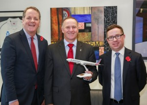 American Airlines chief executive Doug Parker, New Zealand Prime Minister John Key, Qantas chief executive Alan Joyce