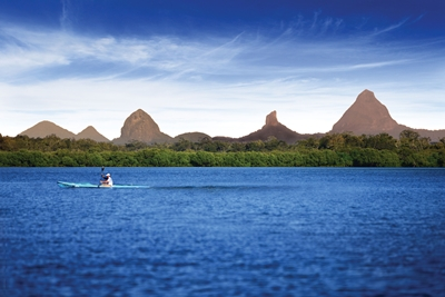 Glasshouse Mountains on Pumicestone Passage