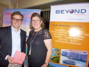 Jan Urban, Czech Tourism and winner of a Moser crystal vase, Michelle Meyer from ITravel at Revesby.