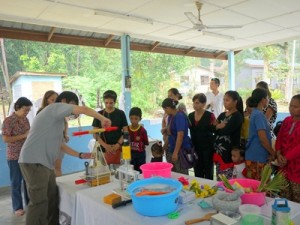 Neither water nor electrical power required, demonstration of the soap recycling process by Mr. Stefan Phang, Sealed Air Regional CSR and Sustainability..