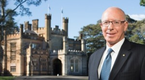 New South Wales Governor David Hurley with Government House in background