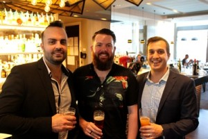 Otis opening - from left Jared Thibault (AHL Group Beverage Manager),  AHL Group Music Director Andrew Lewis and Rydges Food and Beverage Director Fareid Taheri