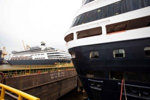Pacific Aria and Pacific Eden meet in dry dock