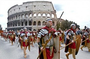 Roman troops march past
