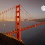Full moon over Golden Gate Bridge, San Francisco, California, United States of America