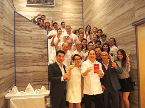 The team at Duddell's celebrates their 2015 two Michelin star status