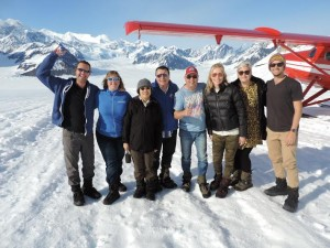 TravelManagers' Darren Christensen (4th from right) barely noticed the cold when his famil group landed on the lower slopes of Mt McKinley/Denali