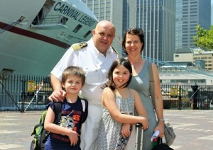 Carnival Legend Captain Guiseppe Gazzano, with wife Anne Louise and children Giacomo and Alessia 9