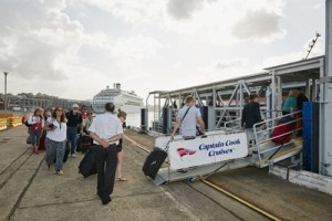 Passengers boarding CCC White Bay Ferry to CQ