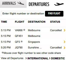 Sydney Airport website shows cancellations