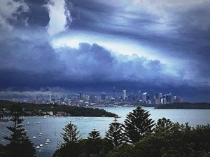 Sydney skyline ahead of storm
