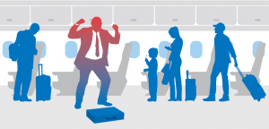 Illustration from IATA manual on dealing with unruly passengers