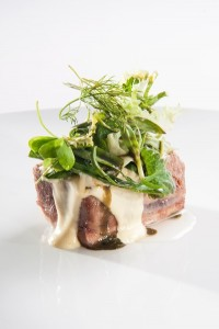 Veal, gin and misticanza salad