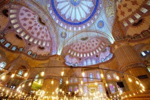 Interior of the Blue Mosque (Sultanahmet Camii) in Istanbul, Turkey