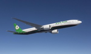EVA Air Boeing 777-300ER photographed on October 31, 2015 from Clay Lacy Astrovision Learjet.