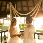 Bride and Groom at Romantic Bale Pavilon