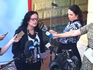 CPSU national secretary Nadine Flood talks to reporters