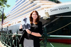 Carnival Australia's Emily Taylor with Maritime Hero Sir Rostron in front of Cunard's Queen Victoria in Sydney - Media