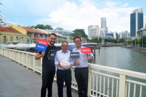 PaulFoster LowTeoPing AdrianLai in front of Official Party Precinct ClarkeQuay