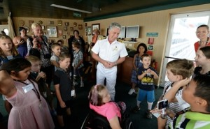 Queen Mary 2 Captain Kevin Oprey meets young patients from The Children's Hospital at Westmead
