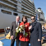 Seabourn Encore float out ceremony L-R Seabourn SVP John Delaney, Marnie Tihany, Director Fincantieri's Marghera shipyard Antonio Quintano