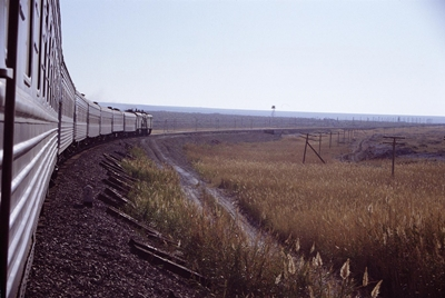 Trans-Siberian Express travelling through countryside
