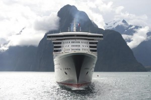 PICTURES BY JAMES MORGAN - MANDATORY CREDIT IF USED OR ISSUED: PHOTO BY JAMES MORGAN/CUNARDFREE IMAGES FOR USE IN EDITORIAL AND ONLINE USE ONLY - NO SALES/NO ADVERTISING16th March 2013…….MILFORD SOUND, FIORDLAND NATIONAL PARK, SOUTH ISLAND, NEW ZEALANDCunard's magnificent flagship Queen Mary 2 made history today, becoming the largest ship to visit Milford Sound in New Zealand's stunning World Heritage-listed Fiordland National Park. Measuring 345 metres long and reaching 62 metres above the water, the 151,400-tonne liner cruised the waters of Milford Sound as well as neighbouring Dusky Sound and Doubtful Sound as part of her maiden circumnavigation of New Zealand. The 12-day journey around New Zealand will end in Sydney on Tuesday (March 19). Carrying more than 2500 guests, Queen Mary 2 remains the biggest  ship to sail to New Zealand.