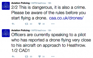 British aviation police tweets on the drone incident