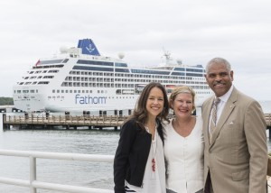 Fathom inaugural cruise - Tara Russell, Ann Sherry and Arnold Donald in the Dominican Republic