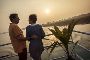 India Matiari Ganges Riverboat Cruise Sunset Couple Deck - IMG2278  Lg R...